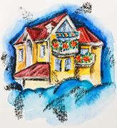 fairy house with flowered balcony, watercolor with slate-pencil painting - stock illustration