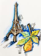 eiffel tower with chestnut leaf, watercolor with slate-pencil painting - stock illustration