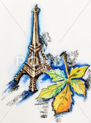 Stock Illustration of eiffel tower with chestnut leaf, watercolor with slate-pencil painting