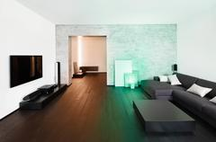 Modern minimalism style drawing-room and hall interior Stock Photos