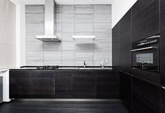 Part of modern minimalism style kitchen interior in monochrome tones Stock Photos