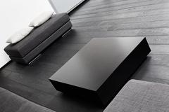 part of modern sitting room interior in black and white - stock photo