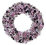 Round frame made from many small purple diamonds, isolated on white Stock Photos