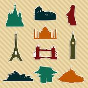 World landmark silhouettes set Stock Illustration