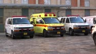 Ambulance parking in hospital  entrance Stock Footage