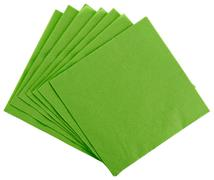 Green square paper serviette (tissue), isolated on white Stock Photos