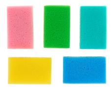 five multicolored cellulose kitchen sponges, isolated on white - stock photo
