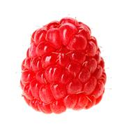one red ripe raspberry fruit, isolated on white macro - stock photo