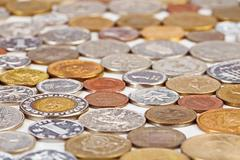 many different coins collection, monetary concept background - stock photo