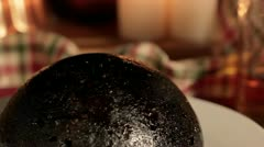Christmas Pudding close up Stock Footage