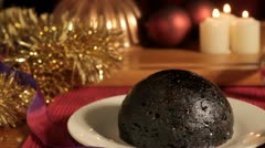 Christmas Pudding flamed and tracked - stock footage