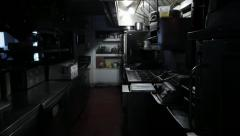 Commercial Kitchen Lights Turning On Stock Footage