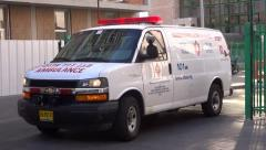 Israeli ambulance Hadassah hospital Jerusalem ein kerem Stock Footage