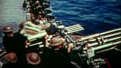 WW2-ColorFootage - Naval Gunfire anti air Stock Footage