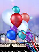 multicolored balloons - stock illustration
