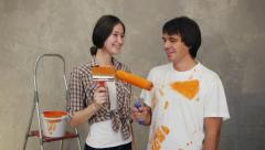 Couple with brushes - stock footage