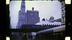 ELEVATED SUBWAY TRAIN Street Scene NYC 1940s Vintage Film Retro Home Movie 4796 Stock Footage