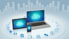 Modern gadgets in cloud computing concept Stock Footage