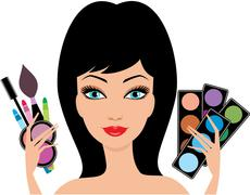 young beautiful woman with decorative cosmetics in hands - stock illustration