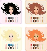 make-up for women with a different hair color - stock illustration