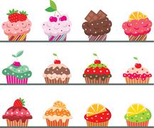 Cupcakes on a regiment Stock Illustration