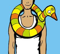 man wearing a duck water inflatable arround his neck. - stock illustration