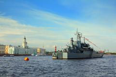 Military ship on neva river - day of the navy in st. petersburg Stock Photos