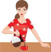 Woman on kitchen pours coffee Stock Illustration
