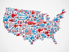 Usa elections icons map Stock Illustration
