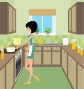young woman on kitchen - stock illustration