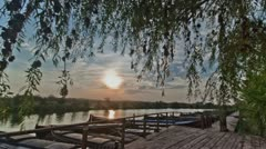 Sunset at the Catarroja´s Port in the Natural Park of Albufera - Time Lapse Stock Footage