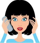 Young woman is surprised by phone Stock Illustration