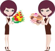 Two women thick and thin Stock Illustration