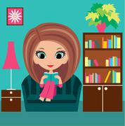 Girl cartoon reads the book on a sofa. Stock Illustration