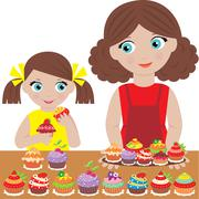 Mother with the daughter bake cupcakes Stock Illustration