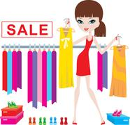 young woman on clothes and footwear sale - stock illustration