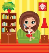 girl cartoon speaks on the phone - stock illustration
