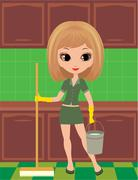 Stock Illustration of girl cleans in rubber gloves