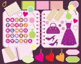 Scrapbook elements with letters and clothes. Stock Illustration