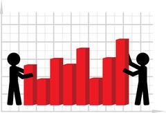 symbolical image of lifting of economic indicators. - stock illustration