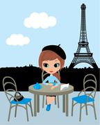 pretty girl in the parisian cafe - stock illustration