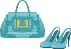 Illustrations of a blue purse and high heels shoes Stock Illustration