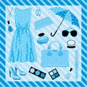 Stock Illustration of fashion set in blue tones