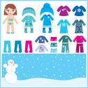 Paper doll with a set of winter clothes. Stock Illustration