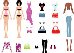 Stock Illustration of paper dolls with clothes