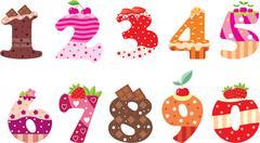 Sweet numbers Stock Illustration