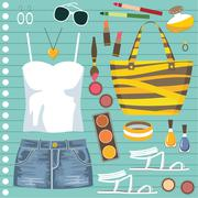 Fashion set with jeans skirt Stock Illustration