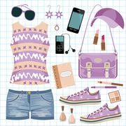 Youth fashionable set Stock Illustration
