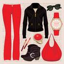 Fashion set with jeans and a jacket Stock Illustration