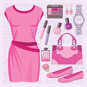 Fashion set with a casual dress Stock Illustration